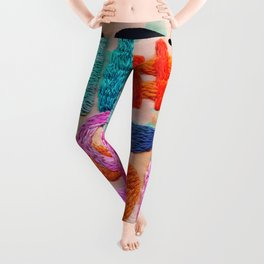 abstract embroidery Leggings