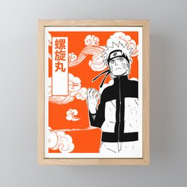 ninja anime orange Framed Mini Art Print