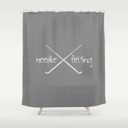 Needle Felting Crossed Needle Design Shower Curtain