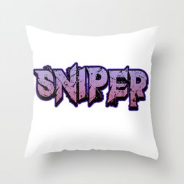 Sniper pc internet online game Shooter weapon target gift idea Throw Pillow