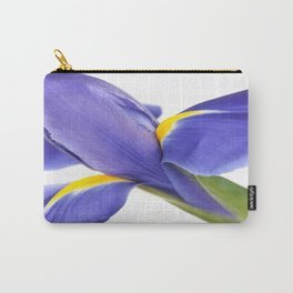 Blue Iris On White Background Carry-All Pouch