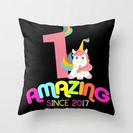 Amazing Since 2017 Unicorn 1st Birthdays Anniversaries Throw Pillow