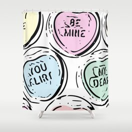 Be Mine Heart Candy in Pastels Shower Curtain