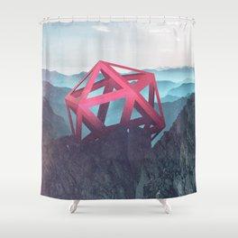 Peeking icosahedron Shower Curtain