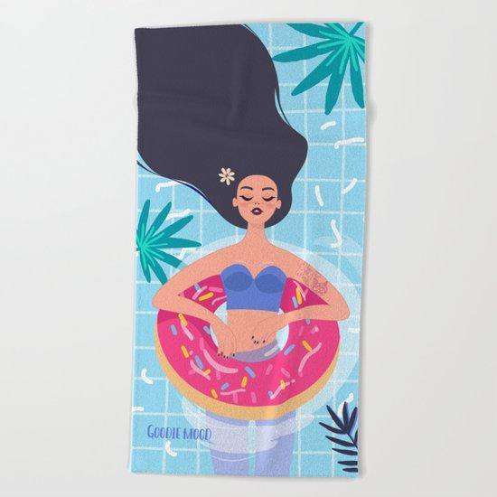 Lazy Girl & Donut Swim Ring Beach Towel