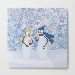 snowmen eating ice cream Metal Print