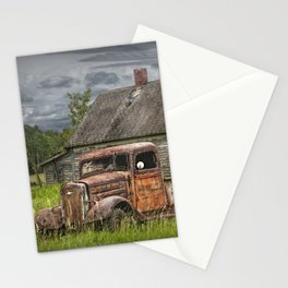 Old Vintage Pickup in front of an Abandoned Farm House Stationery Cards