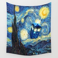 fandom Wall Tapestries featuring Soaring Tardis doctor who starry night iPhone 4 4s 5 5c 6, pillow case, mugs and tshirt by Greenlight8