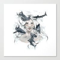 sharks Canvas Prints featuring Sharks by Clunaillustration