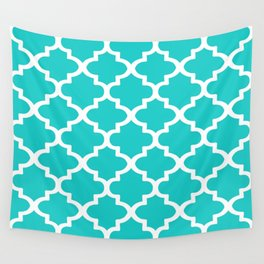 Arabesque Architecture Pattern In Sky Blue Wall Tapestry