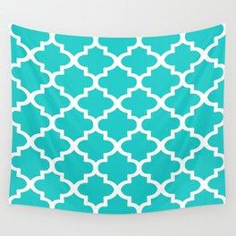 Quatrefoil Pattern In Sky Blue Decorative Moroccan Pattern Wall Tapestry