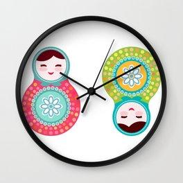 dolls matryoshka, pink and blue colors Wall Clock