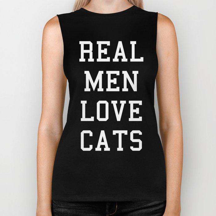 Real Men Love Cats Funny Quote Biker Tank