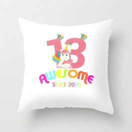 Awesome Since 2005 Unicorn 13th Birthday Anniversaries Throw Pillow