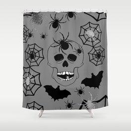 Skull On Grey Shower Curtain
