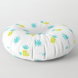 Summer sunshine yellow teal pineapple tropical leaves pattern Floor Pillow