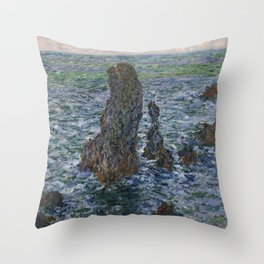 """Claude Monet """"Pyramides Port Coton"""" Throw Pillow"""
