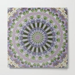 Clematis Kaleidoscope Lilac Mandala Pattern Metal Print