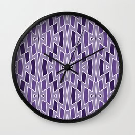 Fragmented Diamond Pattern in Violet Wall Clock