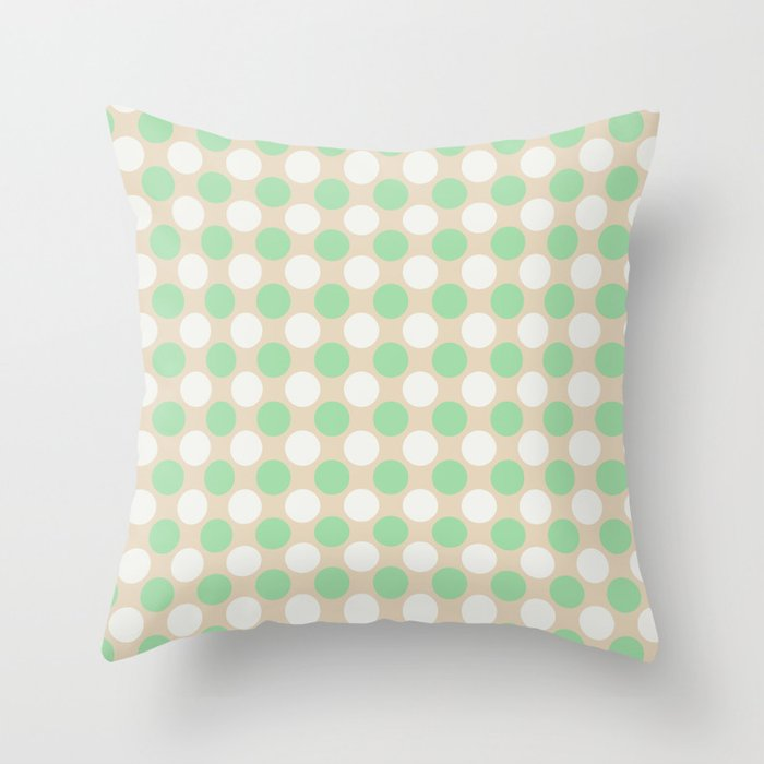 Pastel Green & Off White Uniform Large Polka Dots Pattern on Beige - Neo Mint 2020 Color of the Year Throw Pillow