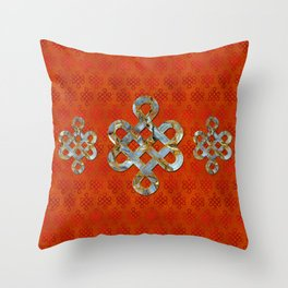 Decorative Marble and Gold Endless Knot symbol Throw Pillow