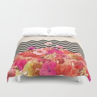 luna Duvet Covers featuring Chevron Flora II by Bianca Green