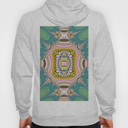 Abstract with tribal floral patterns in blue, green, pink & yellow Hoody