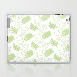 Hand painted mint green floral cactus tropical leaves typo Laptop & iPad Skin