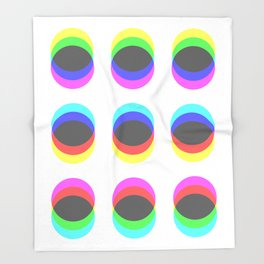 CMYK in RGB Circles Throw Blanket