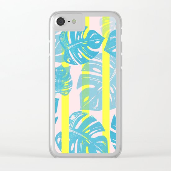 Linocut Monstera Neon Clear iPhone Case