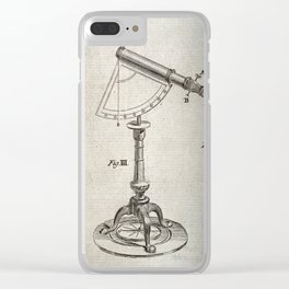 Astronomical Instruments: Large Telescope with a Protractor Pivot and Tripod Clear iPhone Case