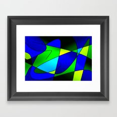 ABSTRACT CURVES #2 (Blues & Greens) Framed Art Print