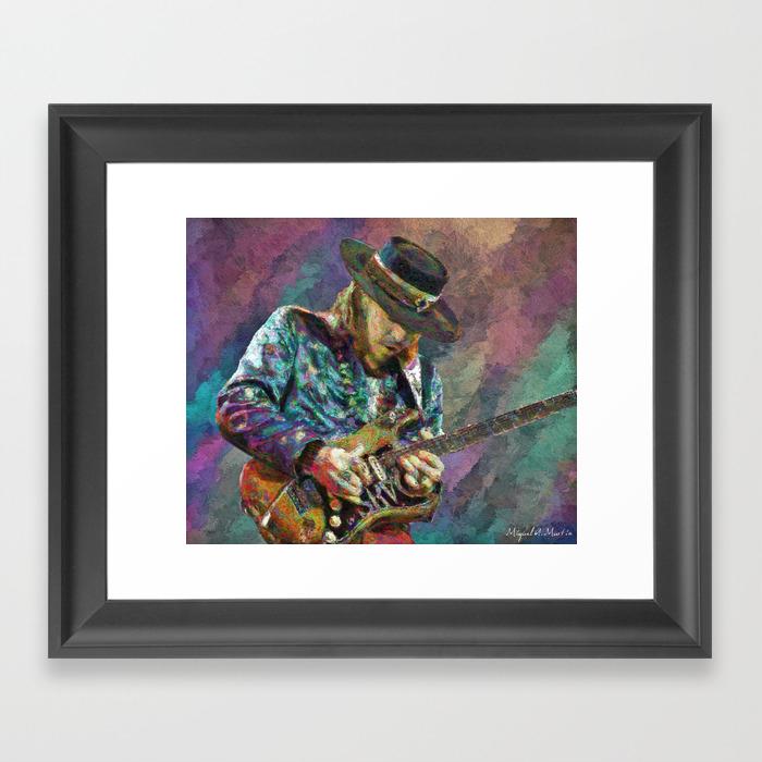 Stevie Ray Vaughan Framed Art Print by Michelmrtn FRM2526043