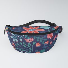 Navy & Coral Floral Pattern Fanny Pack