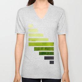 Sap Green Midcentury Modern Minimalist Staggered Stripes Rectangle Geometric Pattern Watercolor Art Unisex V-Neck