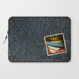Grunge sticker of Antigua and Barbuda flag Laptop Sleeve