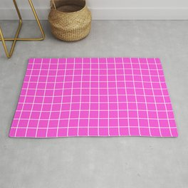 Purple pizzazz - pink color - White Lines Grid Pattern Rug