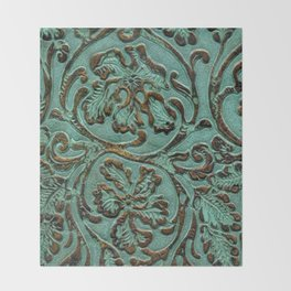 Aqua Flowers Tooled Leather Throw Blanket