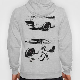 Pitstop, print, art, wall art, modern art, americans tyle, black and white  Hoody