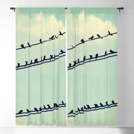 Birds on wires over blue sky with clouds background toned with a vintage retro filter Blackout Curtain