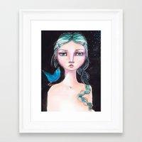 jane davenport Framed Art Prints featuring Blue Bird by Jane Davenport by Jane Davenport