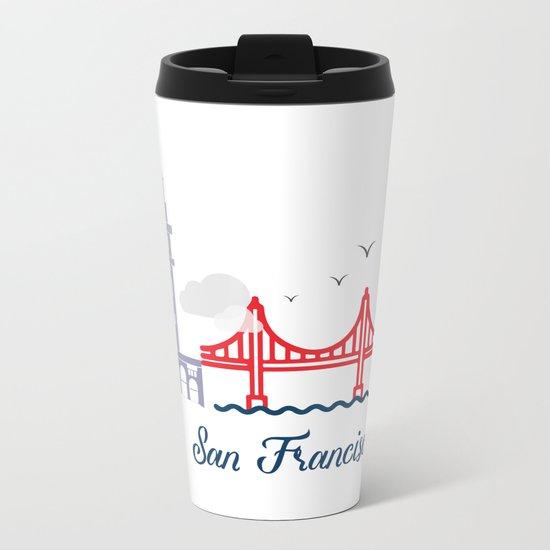 what a colorful city San Francisco, CA. v2. Metal Travel Mug