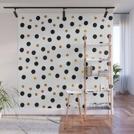 Black & Gold Glitter Confetti on white background- Elegant pattern Wall Mural