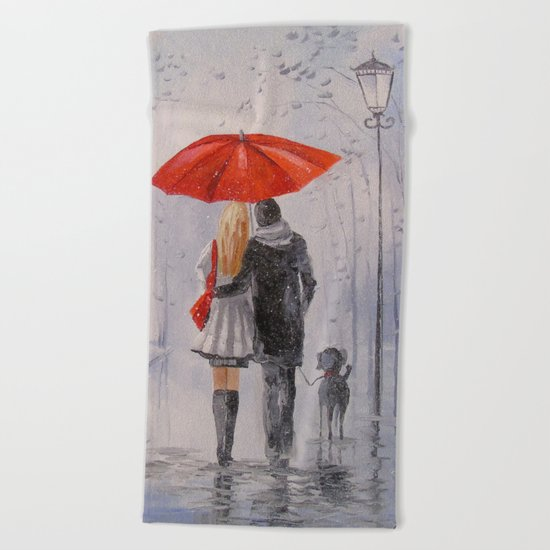 After the rain in the Park Beach Towel