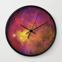 plain Wall Clocks featuring Nebula (plain) by Scarlet