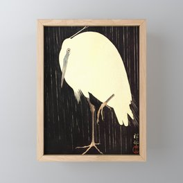 Koson Ohara - White Heron standing in the Rain - Japanese Vintage Ukiyo-e Woodblock Painting Framed Mini Art Print