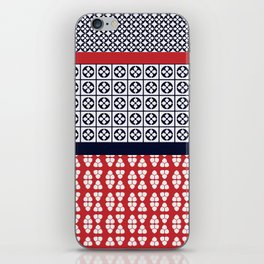 Japanese Style Ethnic Quilt Blue and Red iPhone Skin
