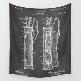 Golf Bag Patent - Caddy Art - Black Chalkboard Wall Tapestry