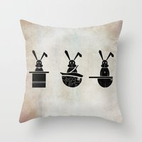 rabbits Throw Pillows featuring rabbits by gazonula