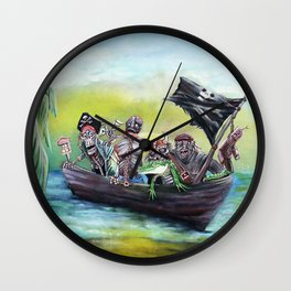 Pirate Booty Beach Wall Clock